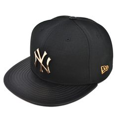 New York Yankees HARDWARE LOGO Black Rose Gold FITTED 59Fifty New Era MLB  Hat Gorras e5b04b17a35