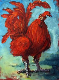 """Proud Rooster"" - Original Fine Art for Sale - © Rick Nilson"