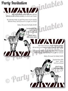 Zebra baby shower invitation  adorable Baby Shower invitation featuring a adorable zebra with a zebra stripe background. Perfect for a boy or girl baby shower invitation or for when the sex of the baby isn't yet know. Zebra Baby Showers, Baby Shower Invites For Girl, Baby Shower Invitations, Baby Boy Or Girl, Baby Shower Printables, Baby Ideas, Shower Ideas, Shower Invitation