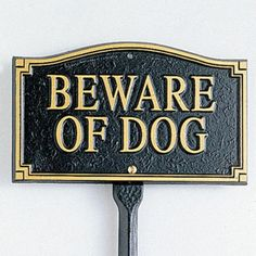 Metal Beware of Dog Signs | Beware of Dog Yard Signs at Brookstone—Buy Now!