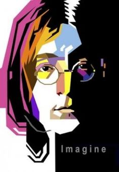 John Lennon WPAP - Wedha Pop Art Portrait - Broadly speaking WPAP is human portrait illustration style (usually famous figures) dominated flat fields bloom color is placed in the front, middle, and back to cause dimension. Dimension itself formed from the imaginary lines firmly where the face shape, the position of the elements of the face member, and the proportions remain the same as the original portrait. Tracing the creative process used is not subject to 100 percent