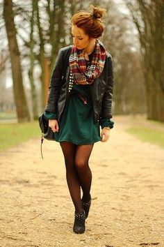 Fall grunge - leather jacket, infinity scarf, dress, tights, boots.