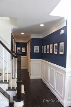 Unbelievable Tips Can Change Your Life: Wainscoting Living Room Decor wainscoting full wall home.Wainscoting Ceiling Board And Batten wainscoting diy tile.Wainscoting How To Paint. Home Renovation, Home Remodeling, Kitchen Renovations, Navy Walls, Navy Blue Rooms, Navy Blue Decor, White Paneling, Panelling, Stair Paneling
