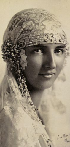"""A Juliet Headdress worn by the Duchess Anna of France in 1927   featured in """"Vintage Weddings"""" by Marnie Fogg"""