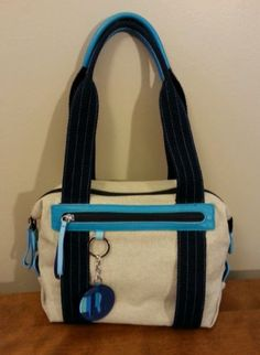 Mywalit Satchel Canvas Leather Mini Tote Bag Navy Blue Turquoise Beige Tan | eBay