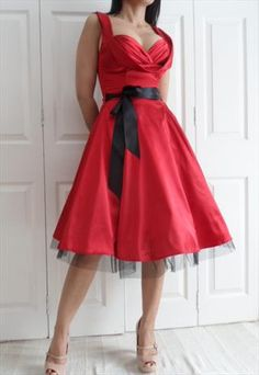 RED SATIN RETRO PIN UP DRESS. Kind of what I had in my head for my bridesmaids