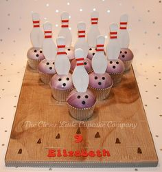 Bowling Cupcakes by The Clever Little Cupcake Company (Amanda), via Flickr