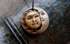Moon & Sun Goddess Polymer Clay Face Pendant by TRaewyn on Etsy