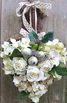 white rose heart wreath