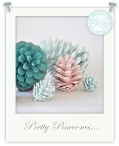 "Pretty Pinecones. Tori says: ""This has to be one of the cheapest, cute decorations I have made this year. Just simply collect pine cones from your local woods, park etc. wash them in soapy water and leave to dry. Then paint them in shades of colours to match your Christmas decor. I also PVA glued a few and sprinkled them in coarse glitter to give them an icy effect."""