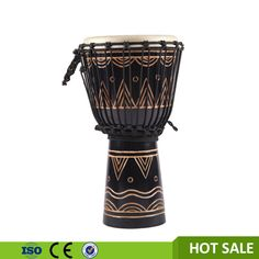 Hand craft wooden Djembe African drum all sizes Carved design