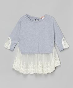 Paulinie Heather Gray Lace Layered Tunic - Toddler & Girls | zulily