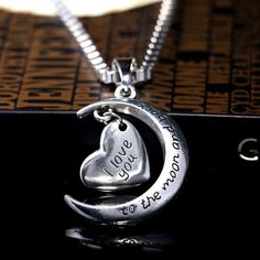 I love you to Moon and back pendant-loved ones