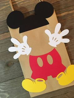 Mickey Mouse Party Bags | Mickey Mouse Birthday Party Favor/Treat Bags | Mickey Mouse Birthday Party Gift Bags | Mickey Mouse Party Bags Perfect for any birthday party or baby shower! Dimensions: 8.25 tall, 5.25 wide, 3 deep All the work is done! Just simply fill your Mickey Mouse