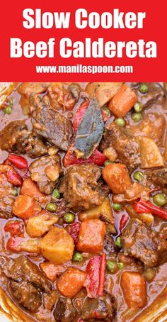 This Asian beef stew (Beef Caldereta) is robust in flavor and so delicious! Cooking in the slow cooker makes it very convenient, too. Serve with Jasmine rice.