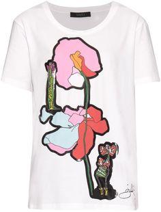 GILES Illustration-print T-shirt Graphic Prints, Graphic Tees, Graphic Design, Denim Tees, Shirt Shop, T Shirt, Shirt Print, Loose Shirts, Printed Tees