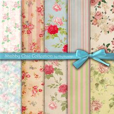 """Shabby chic digital paper : """"SHABBY CHIC COLLECTION"""" vintage shabby chic digital paper with roses on old background, rose digital paper"""