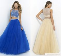 Sleeveless Beads Vintage Scoop Hollow Back Design Two Pieces Floor Length Prom D