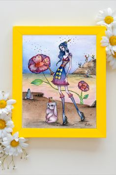 The series is about a girl with magical powers escaping the circus with her partner bunny, and the adventures they encounter along the way. Watercolor Print, Watercolor Paper, Watercolor Paintings, Hand Illustration, Ink Painting, Surrealism, Whimsical, Bunny, Hand Painted
