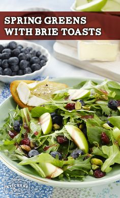 Spring Greens with Brie Toasts: Create a vibrant spring salad of mixed greens, green apples, blueberries, pistachios and Simply Dressed Pomegranate Salad Dressing. For a finishing touch, add a side of toasted French bread topped with Brie.
