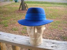 Vintage 60s Ferdora Hat in Bold Royal Blue by vintagefinds61, $22.00
