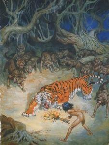 "Estampe ""Mowgli et Shere Khan"" Rudyard Kipling Jungle Book, Scouts, Book Libros, Disney Cats, Prehistoric World, Wolf Pictures, Wildlife Paintings, Mermaid Art, Dark Fantasy Art"