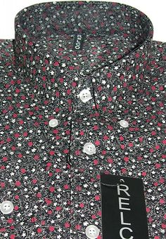 Shirt Floral Pattern Black Men's Vintage Style Design By Relco