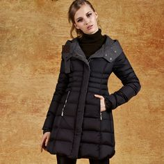 Winter Slim Fit Long Women Down Coat Red Black