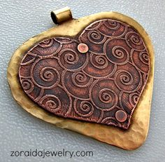 Heart Shield Pendant with Etched Copper and Brass   zoraida - Jewelry on ArtFire