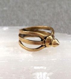Brass Spike Cage Ring