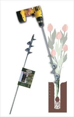 Heavy Duty Bulb and Bedding Plant Auger 28 In. Long by In. - Product Description: Tired of digging all those holes by hand when you plant? Just attach this ba Garden Bulbs, Planting Bulbs, Garden Planters, Garden Yard Ideas, Lawn And Garden, Best Garden Tools, Gardening Tools, Water Barrel, Types Of Soil