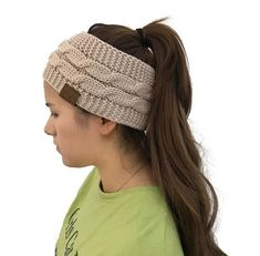 New Hot Knitted Crochet Twist Hat For Women's Winter Ear Warmer Elastic Turban Hair Accessories Beanie Hat Drop Shipping Ponytail Beanie, Knit Beanie Hat, Knitted Headband, Beanies, Cc Hats, Crochet Twist, Ear Warmer Headband, Winter Headbands, White Headband