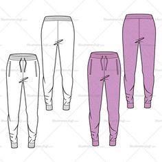 Women's Combat Jogger Pants Fashion Flat Template