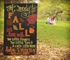 Get ready to fall in love! Pregnancy announcement / Maternity Picture / Chalkboard / Baby Due in October. Photo by Jenee Ann Photography. Chalkboard by Charleston Chalk Chick October Pregnancy Announcement, Thanksgiving Pregnancy Announcement, Rainbow Baby Announcement, New Baby Announcements, Baby Bump Pictures, Maternity Pictures, Pregnancy Photos, Baby Pregnancy, Pumpkin Recipes