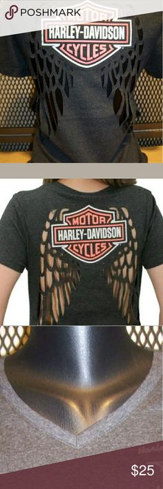 Harley Davidson V neck laser cut out shirt Super cute v neck shirt with cut out wings on back Harley Davidson Tops Tees - Short Sleeve