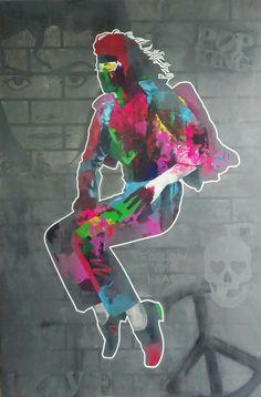 Michael Jackson Work in progress😉 Acrylic on canvas 150x100cm😀 #Jackson #music #art #painting #stencil #pop #king #peace #love