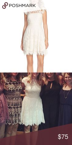 """Ivory lace dress BB Dakota ivory lacy dress with key hole back. I am 5'5"""" and dress hit at my knees. Worn 1x for my wedding rehearsal. This dress runs about a size big. Dresses"""