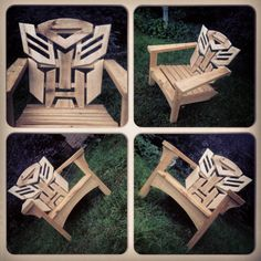 These Adirondack chair plans will help you build an outdoor furniture set that becomes the centerpiece of your backyard. It's a good thing that so many plastic patio chairs are designed to stack, and the aluminum ones fold up flat. Fun Projects, Wood Projects, Woodworking Projects, Woodworking Workbench, Unique Furniture, Pallet Furniture, Outdoor Furniture, Recycled Furniture, Furniture Online