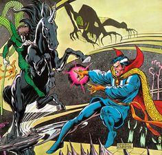 Doctor Strange vs Nightmare by Bill Sienkiewicz & Joe Rubenstein Marvel Comics, Marvel Comic Books, Marvel Art, Comic Book Characters, Marvel Characters, Comic Character, Comic Books Art, Marvel Heroes, Book Art