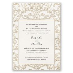 A premier line of invitations designed with sophisticated details and luxurious stationery.