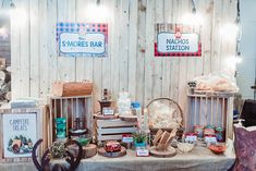 Ethan's Camping Theme Party – Birthday Carnival Themed Party, Party Themes, Trail Mix Buffet, Birthday Bash, Birthday Celebration, Rustic Birthday, S'mores Bar, Camping Theme, Backdrops For Parties