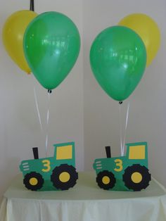 Tractor Birthday Party Decorations Centerpiece Balloon Holders Green and Yellow Birthday Party Centerpieces, Diy Birthday Decorations, Centerpiece Decorations, Tractor Birthday, Farm Birthday, Turtle Birthday Parties, Birthday Party Themes, Balloon Holders, Farm Party