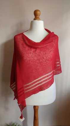 Check out this item in my Etsy shop https://www.etsy.com/uk/listing/290793009/knitted-linen-scarf-shawl-red-christmas