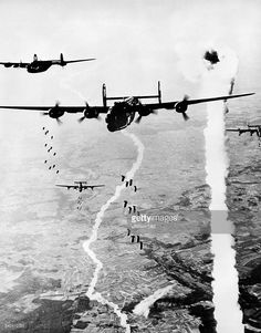 Allied 'B 24 Liberator' bombers at an air raid on German positions in Normandy- June / July 1944