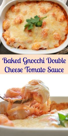 Tomato Recipes Baked Gnocchi Double Cheese Tomato Sauce is a perfect fast and easy family recipe dish, baked in a simple tomato sauce topped with mozzarella Baked Gnocchi, Gnocchi Recipes, Easy Pasta Recipes, Potato Recipes, Dinner Recipes, Endive Recipes, Radish Recipes, Potluck Recipes, Fast Easy Meals