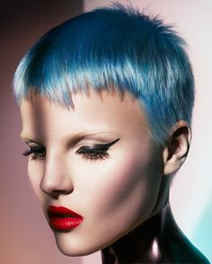 Short blue hair (Hair by Mark Leeson, Make-up by Kylie O'Toole, Photography by Andrew O'Toole)