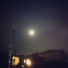 空を見上げるとベールをかけたようなぼんやり丸いお月様が見えた