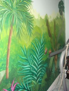 I think i'll paint something like this jungle mural for alex