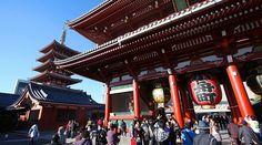 Tokyo Travel: Sensoji (Asakusa Kannon Temple) -- oldest and most popular temple, pedestrian lane Nakamise Dori leading up to it has over 80 stalls selling souvenirs and traditional goods -- free admission -- daily 6:30am-5pm -- Asakusa station or Tokyo Shitamachi Bus at Asakusa Kaminarimon
