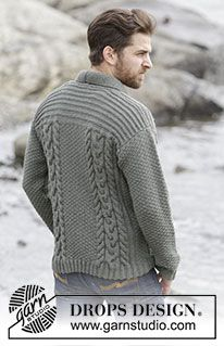 """Finnley - Knitted DROPS men's jacket with cables and shawl collar in """"Lima"""". Size: S - XXXL. - Free pattern by DROPS Design"""